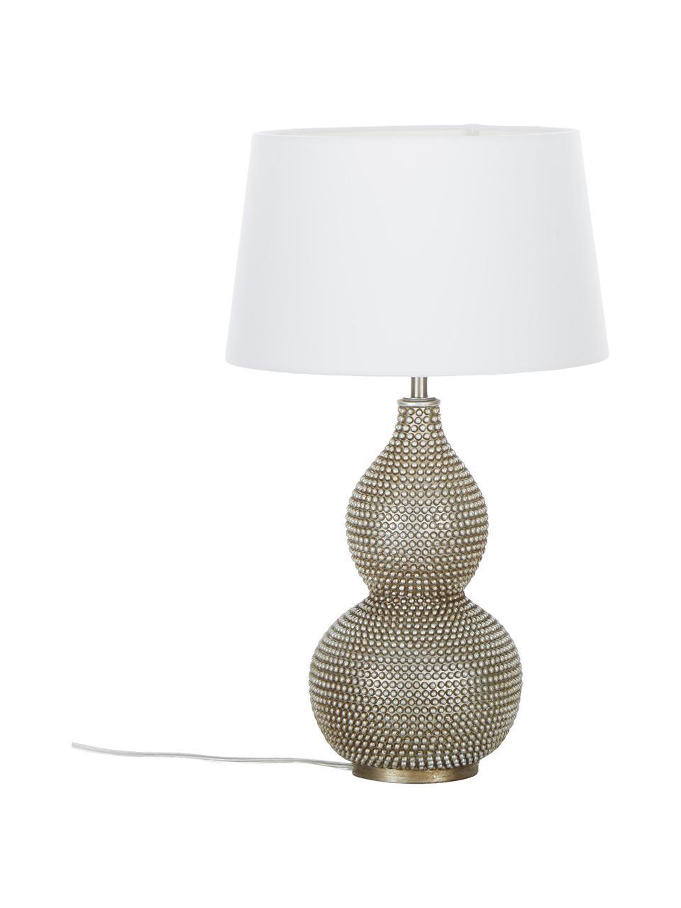 Grote tafellamp Lofty met antieke afwerking, Lampvoet: gecoat metaal, Lampenkap: polyester, Wit, Ø 33 x H 58 cm