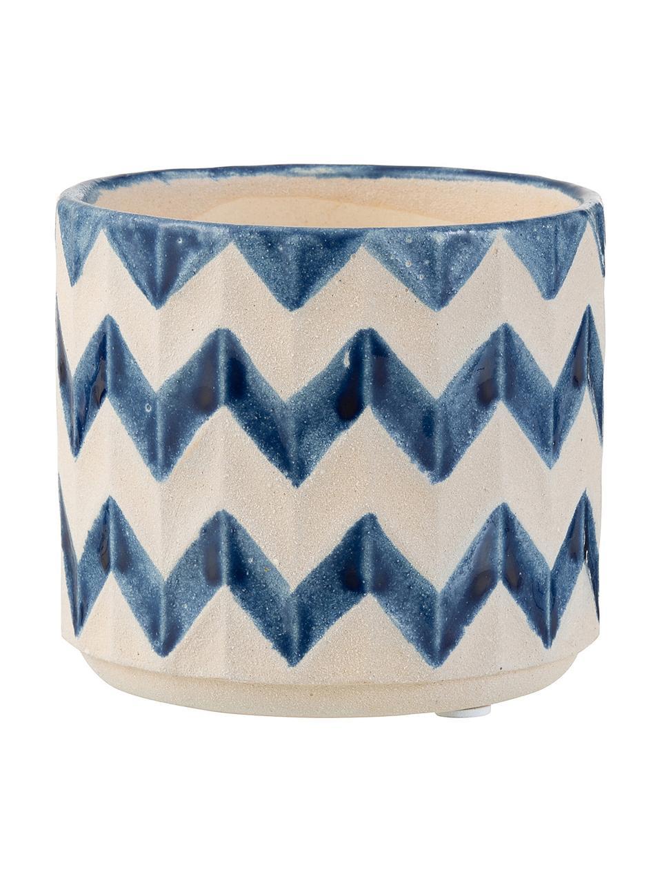 Doniczka Zigzag, Ceramika, Niebieski, jasny beżowy, Ø 8 x W 7 cm