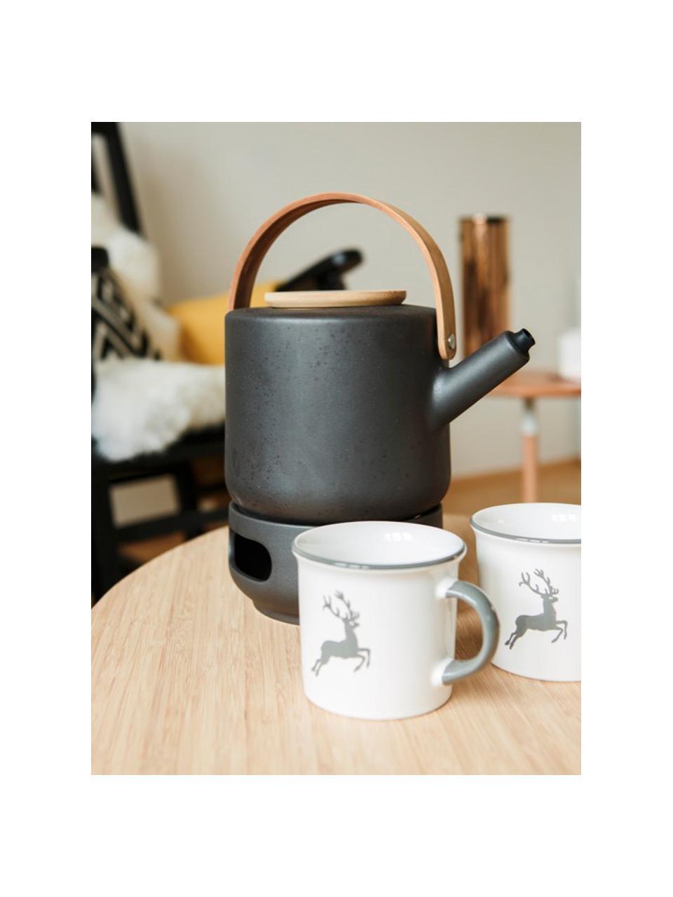 Handbemaltes Kaffeehaferl Classic Grauer Hirsch, Keramik, Grau,Weiß, 240 ml