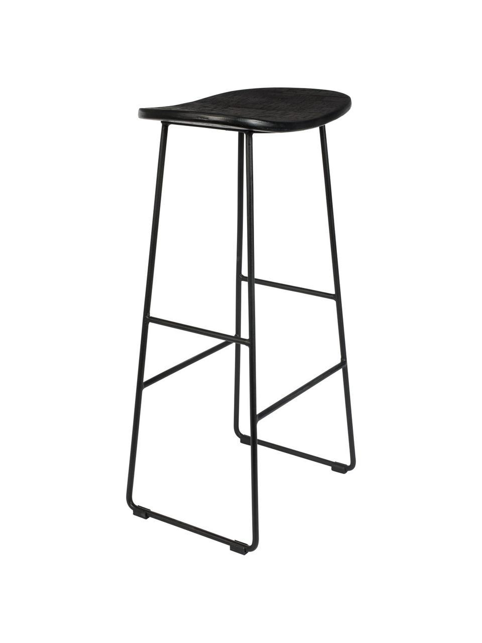 Barhocker Tangle in Schwarz, Sitzfläche: Recyceltes Teakholz, lack, Beine: Metall, pulverbeschichtet, Schwarz, B 40 x H 80 cm