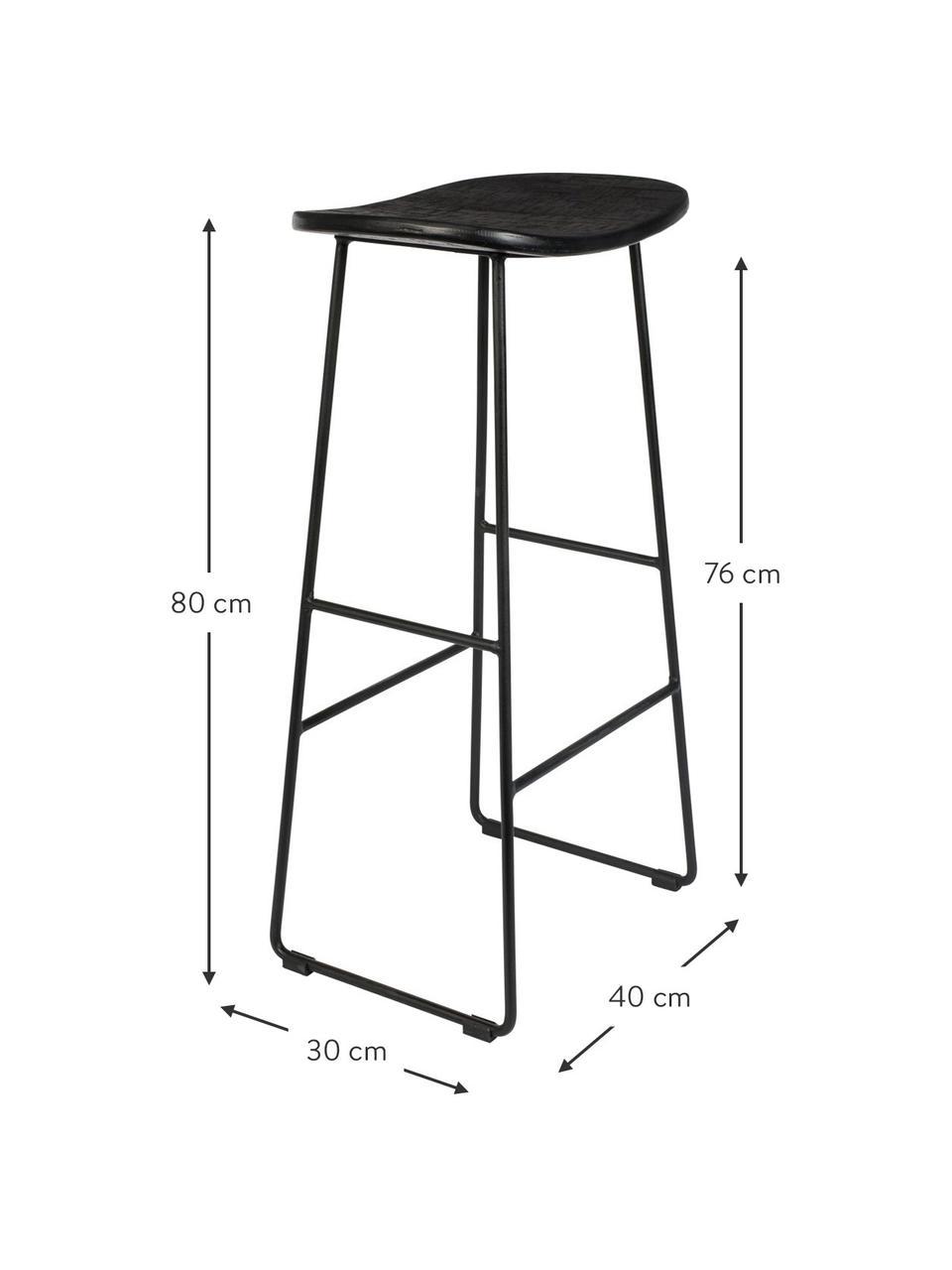 Barhocker Tangle in Schwarz, Sitzfläche: Recyceltes Teakholz, lack, Beine: Metall, pulverbeschichtet, Schwarz, 40 x 80 cm