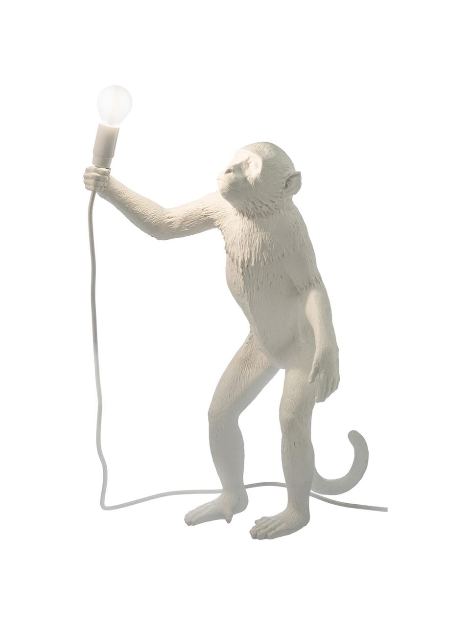 Lampada da tavolo da esterno con spina Monkey, Lampada: resina sintetica, Bianco, Larg. 46 x Alt. 54 cm