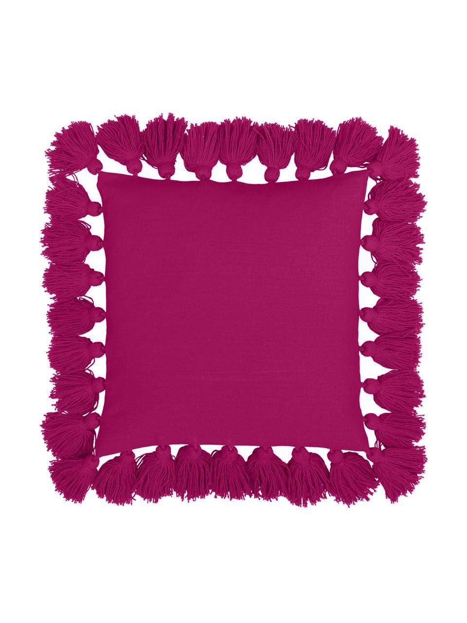 Kissenhülle Shylo mit Quasten, 100% Baumwolle, Fuchsia, 40 x 40 cm