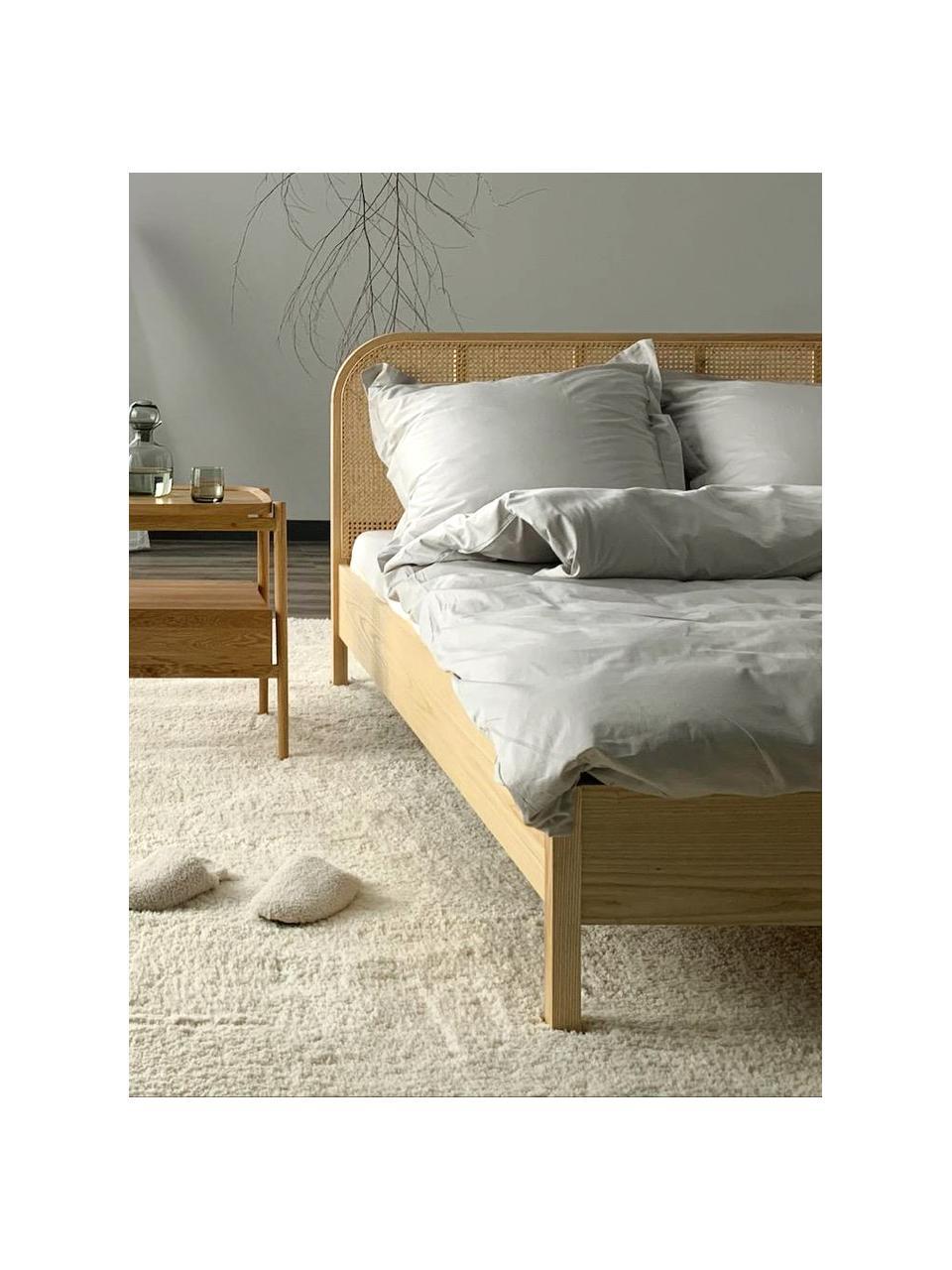 Houten bed Jones met Weens vlechtwerk, Frame: multiplex met essenhoutfi, Poten: massief essenhout, Bruin, 180 x 200 cm