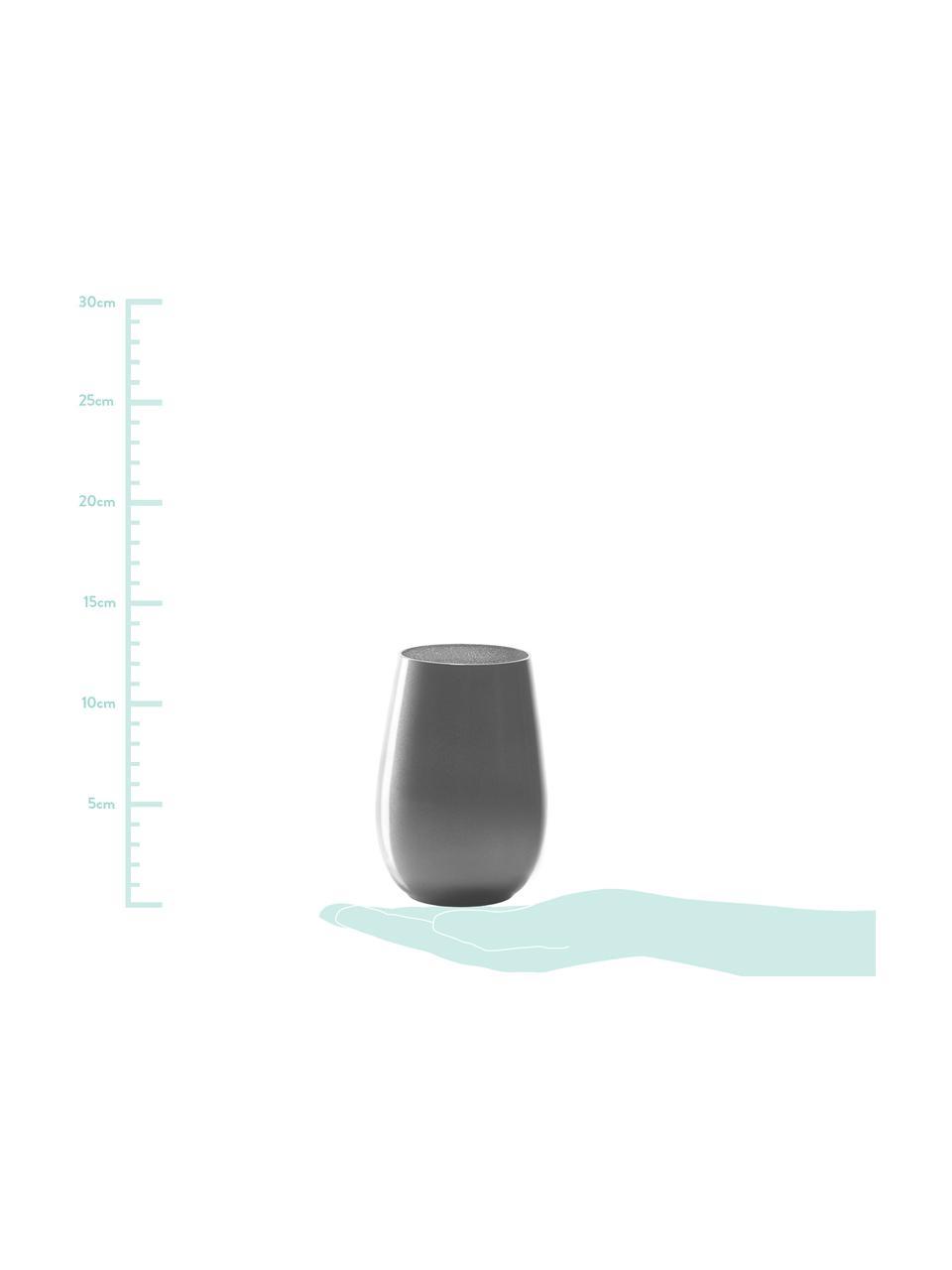 Kryształowa szklanka do koktajli Elements, 6 szt., Szkło kryształowe, powlekane, Odcienie srebrnego, Ø 9 x W 12 cm