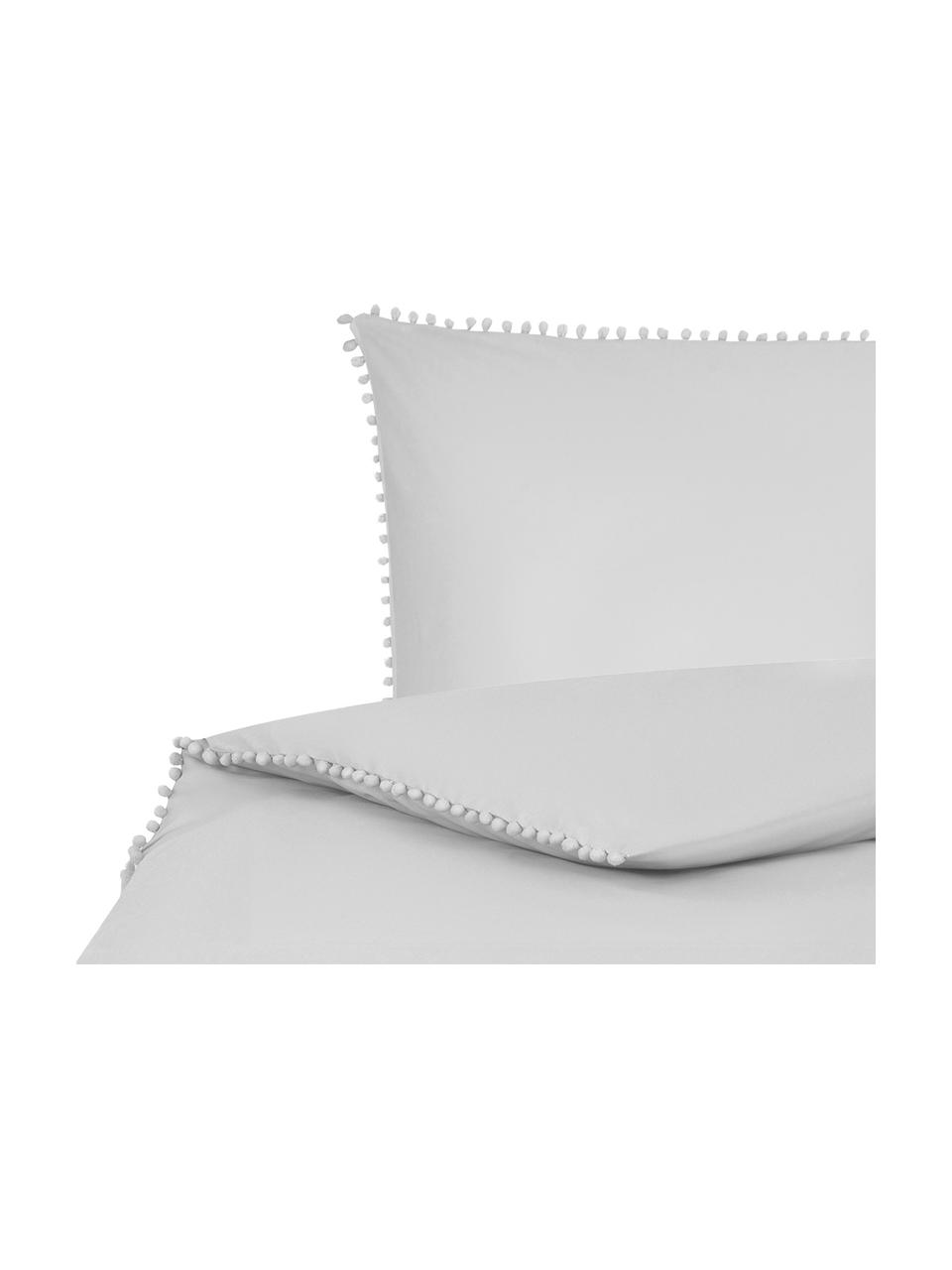 Parure copripiumino in cotone percalle con pompon Bommy, Grigio, 155 x 200 cm + 1 federa 50 x 80 cm