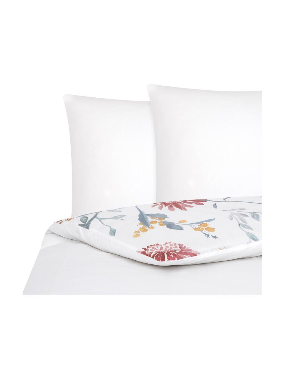 Parure copripiumino reversibile in raso di cotone Evie, Stampa floreale, bianco, 155 x 200 cm