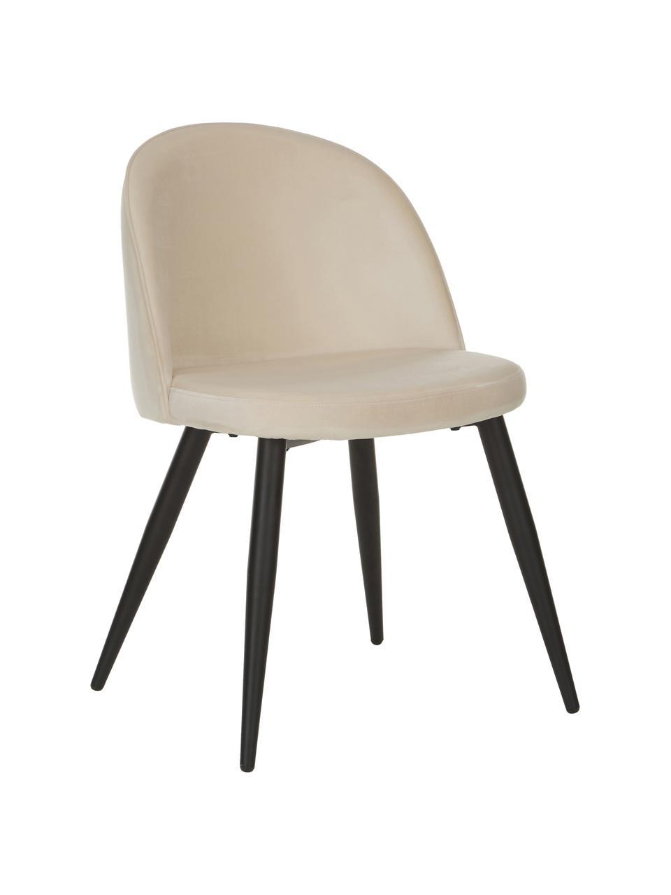 Krzesło tapicerowane z aksamitu  Amy, 2 szt., Tapicerka: aksamit (poliester) Dzięk, Nogi: metal malowany proszkowo, Kremowobiały, S 51 x G 55 cm