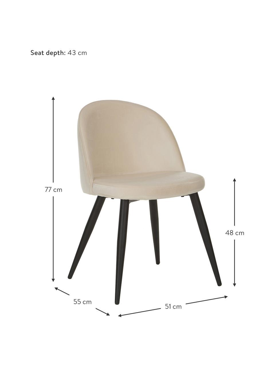Moderne Samt-Polsterstühle Amy, 2 Stück, Bezug: Samt (Polyester) Der hoch, Beine: Metall, pulverbeschichtet, Samt Cremeweiß, B 51 x T 55 cm