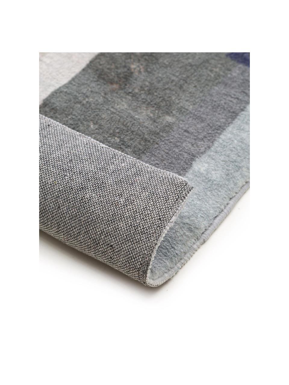 Gemusterter Teppich Mara in Blautönen, 100% Polyester, Blau, Mehrfarbig, B 160 x L 230 cm (Größe M)