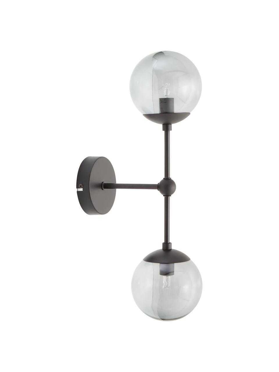 Aplique de vidrio Beth, Estructura: metal con pintura en polv, Fijación: metal con pintura en polv, Gris, negro, Ø 12 x Al 45 cm