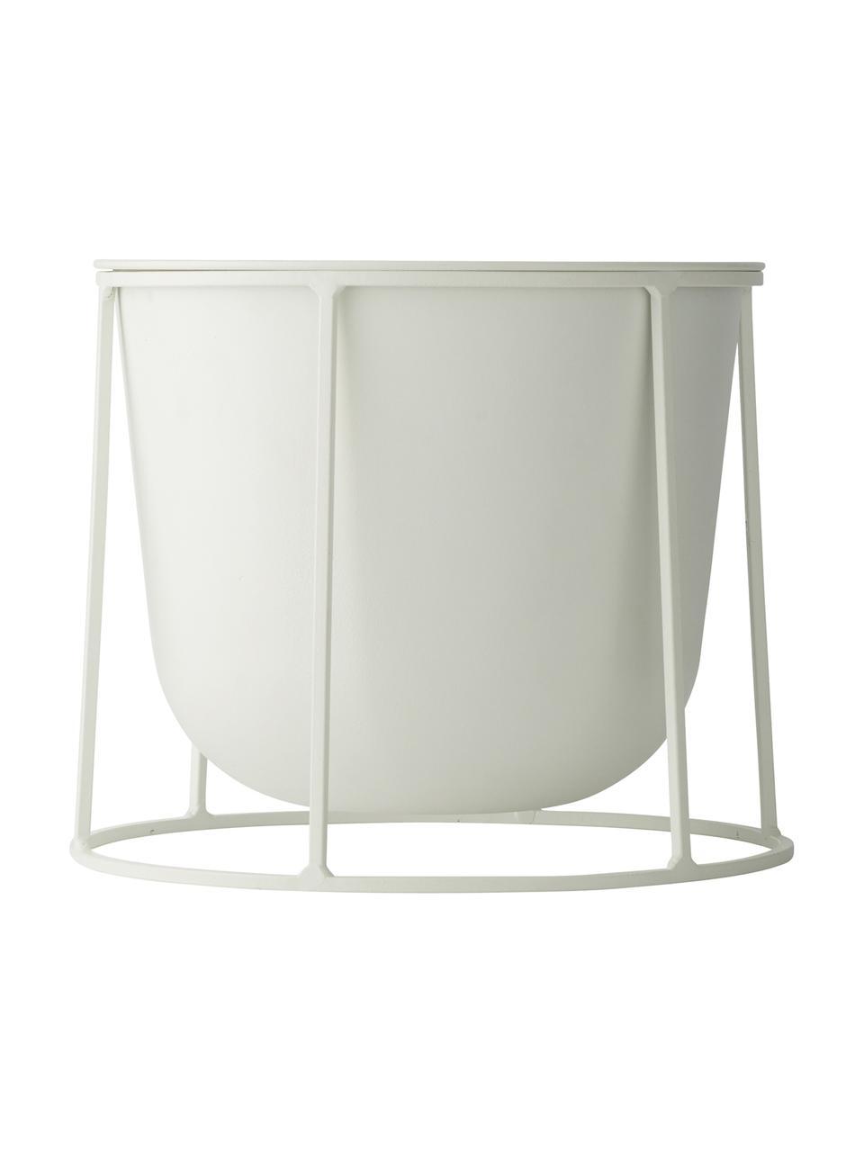 Stand portavaso in acciaio Wire Base, Acciaio verniciato a polvere, Bianco, Ø 23 x Alt. 20 cm