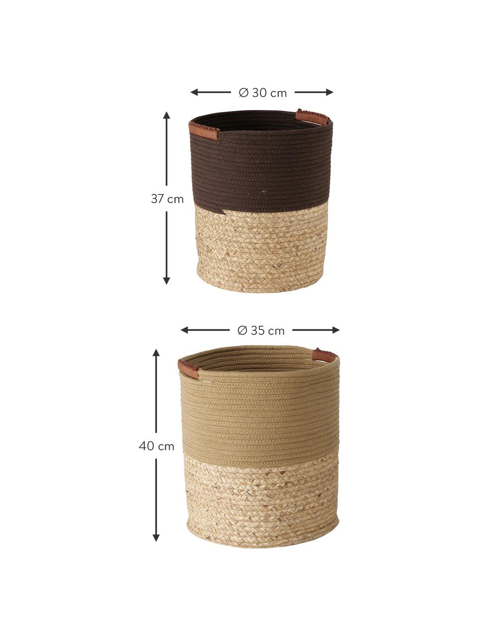 Handgewebtes Aufbewahrungskörbe-Set Zahara, 2-tlg., Griffe: Kunstleder, Braun, Set mit verschiedenen Größen