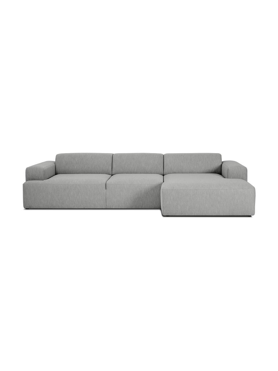 Sofa narożna Melva (4-osobowa), Tapicerka: poliester Dzięki tkaninie, Nogi: lite drewno bukowe, lakie, Szary, S 319 x G 144 cm