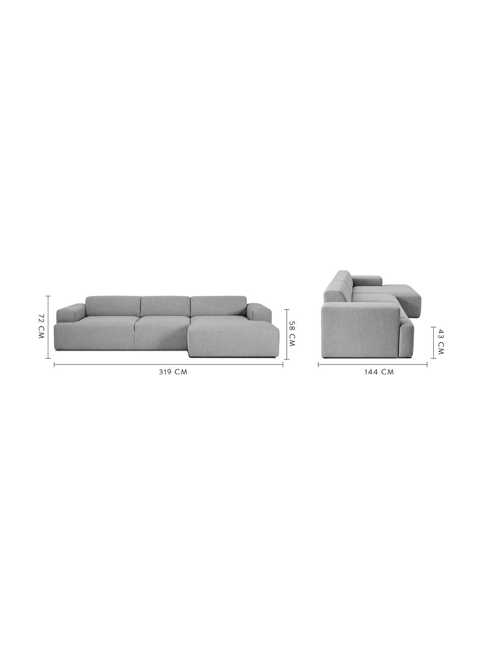 Hoekbank Melva (4-zits) in grijs, Bekleding: polyester, Frame: massief grenenhout, spaan, Poten: grenenhout, Geweven stof grijs, B 319 x D 144 cm
