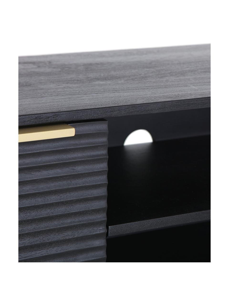 Aparador de madera de acacia Mamba, Estructura: madera de acacia pintada, Patas: metal pintado, Negro, An 158 x Al 50 cm