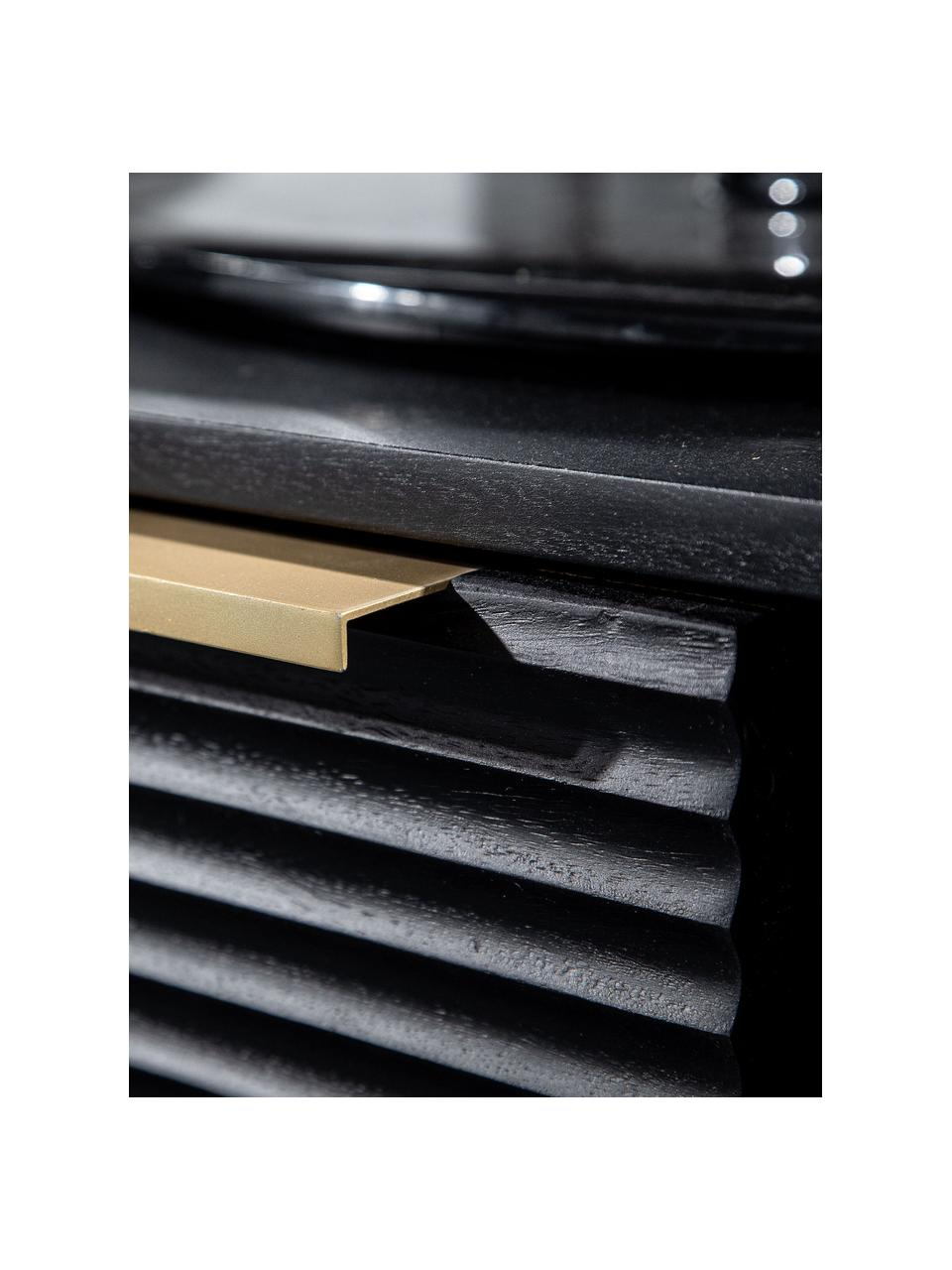 Akazienholz-Lowboard Mamba mit geriffelter Front, Korpus: Akazienholz, lackiert, Beine: Metall, lackiert, Schwarz, 158 x 50 cm