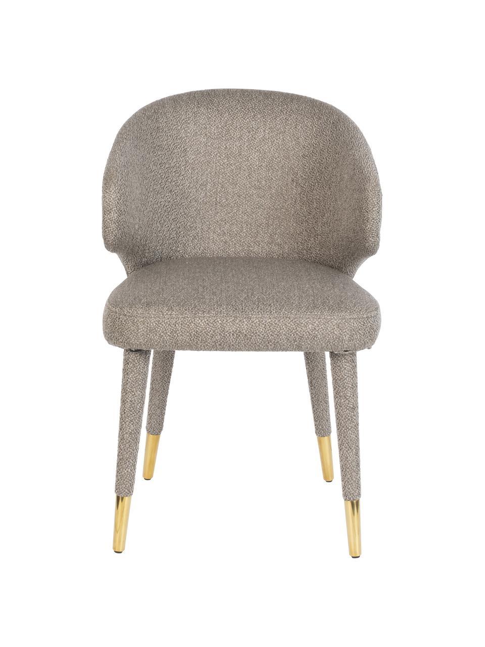 Krzesło tapicerowane Lunar, Tapicerka: 100% aksamit poliestrowy , Stelaż: drewno warstwowe, drewno , Nogi: metal malowany proszkowo, Taupe, S 52 x G 59 cm