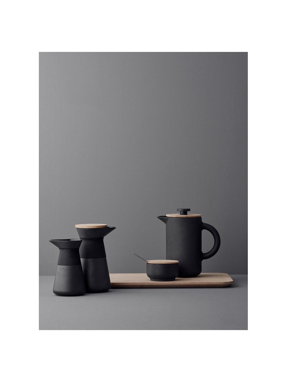 Cafetière noir Theo, Noir, mat Couvercle: brun clair