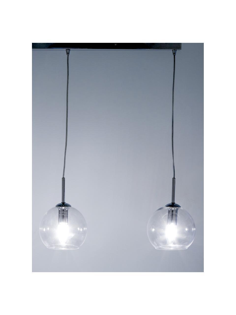 Lampada a sospensione argentata Hamilton, Paralume: vetro, Struttura: metallo cromato, Baldacchino: metallo cromato, Trasparente, Larg. 81 x Alt. 13 cm