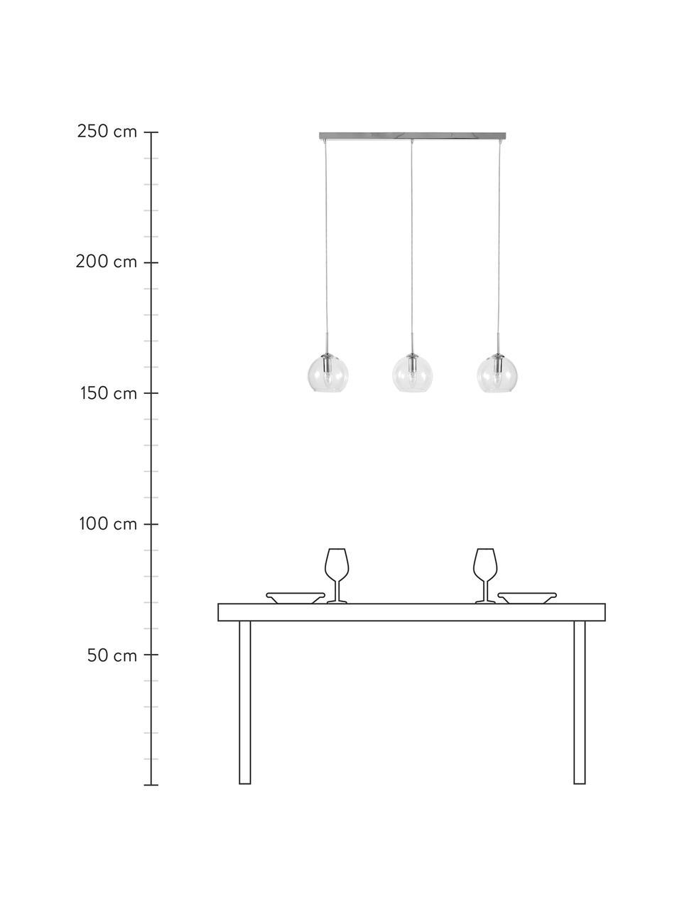 Duża lampa wisząca Hamilton, Stelaż: metal chromowany, Transparentny, S 81 x W 13 cm