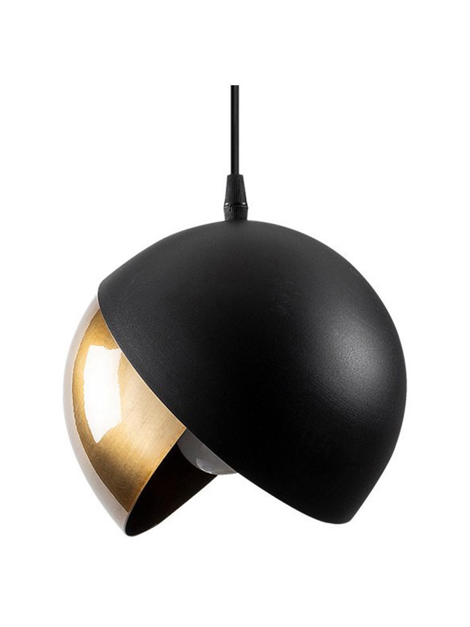 Kleine Pendelleuchte Berceste in Schwarz-Gold, Lampenschirm: Metall, beschichtet, Baldachin: Metall, beschichtet, Messingfarben, Schwarz, Ø 20 cm