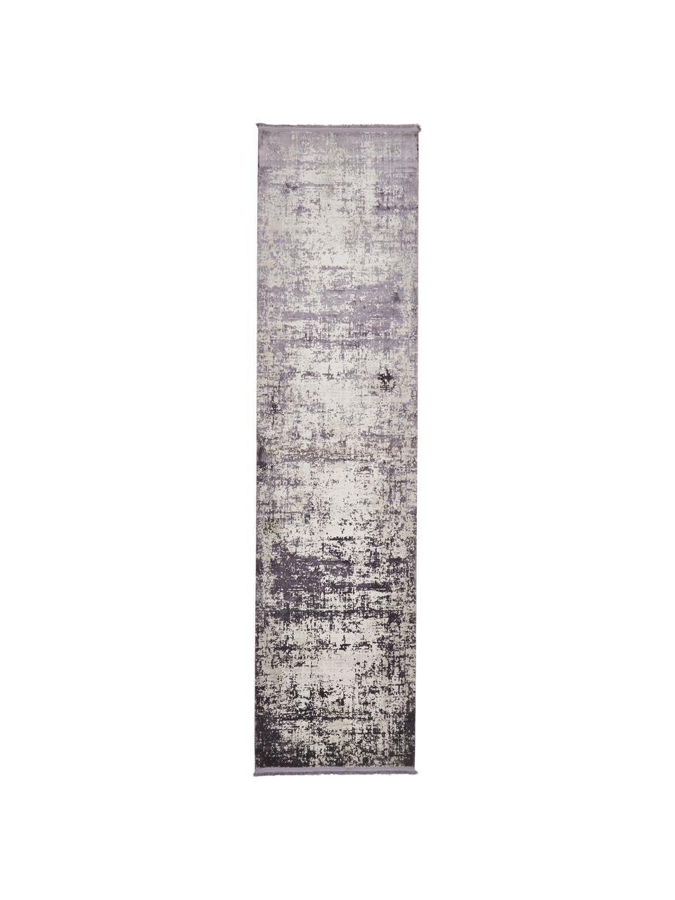 Schimmernder Läufer Cordoba in Grautönen mit Fransen, Vintage Style, Flor: 70% Acryl, 30% Viskose, Hellgrau, Dunkelgrau, 80 x 300 cm