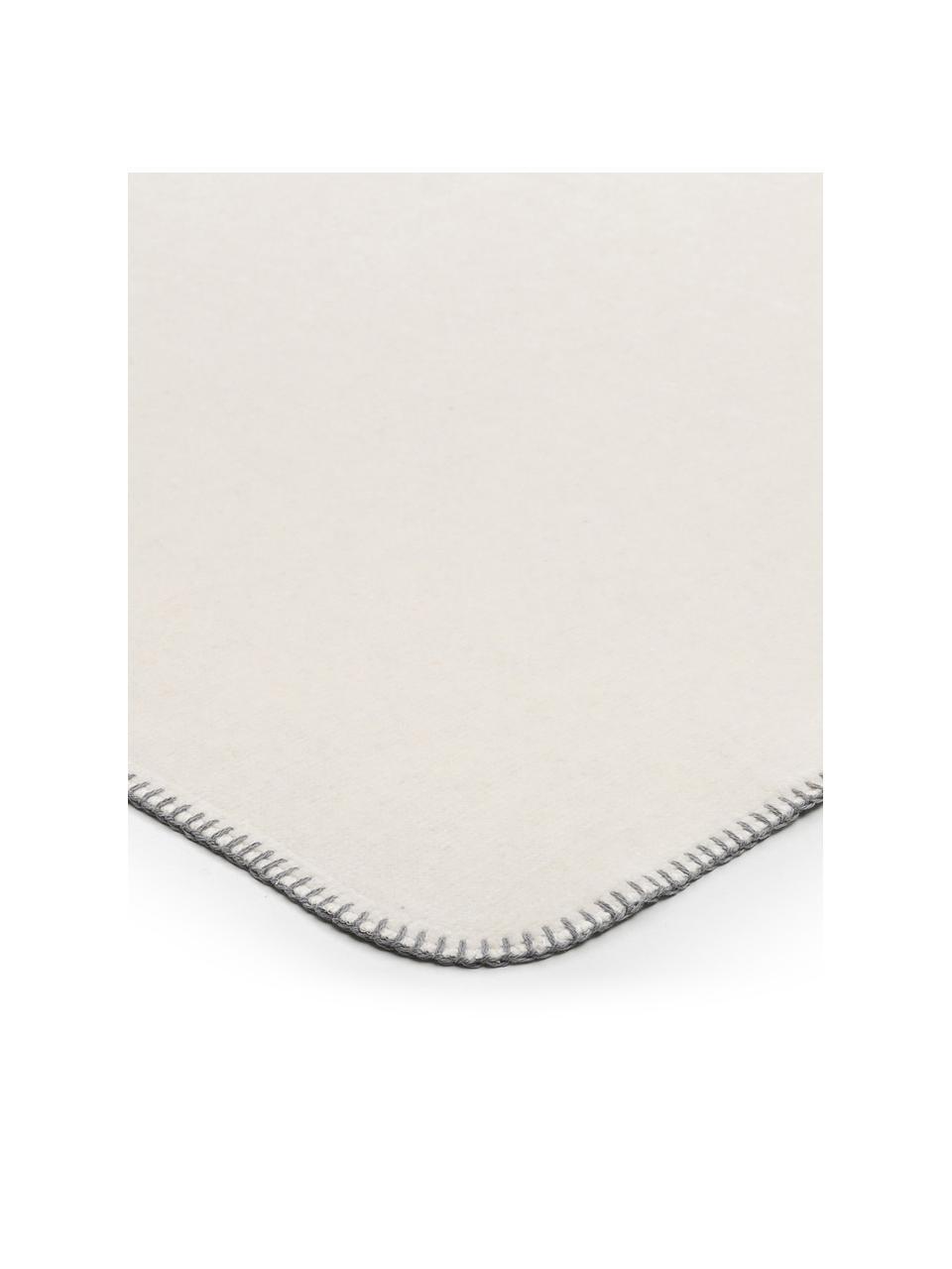Weiche Fleecedecke Melange Doubleface in Offwhite/Grau, 58%Baumwolle, 35%Polyacryl, 7%Polyester, Offwhite, Grau, 150 x 200 cm