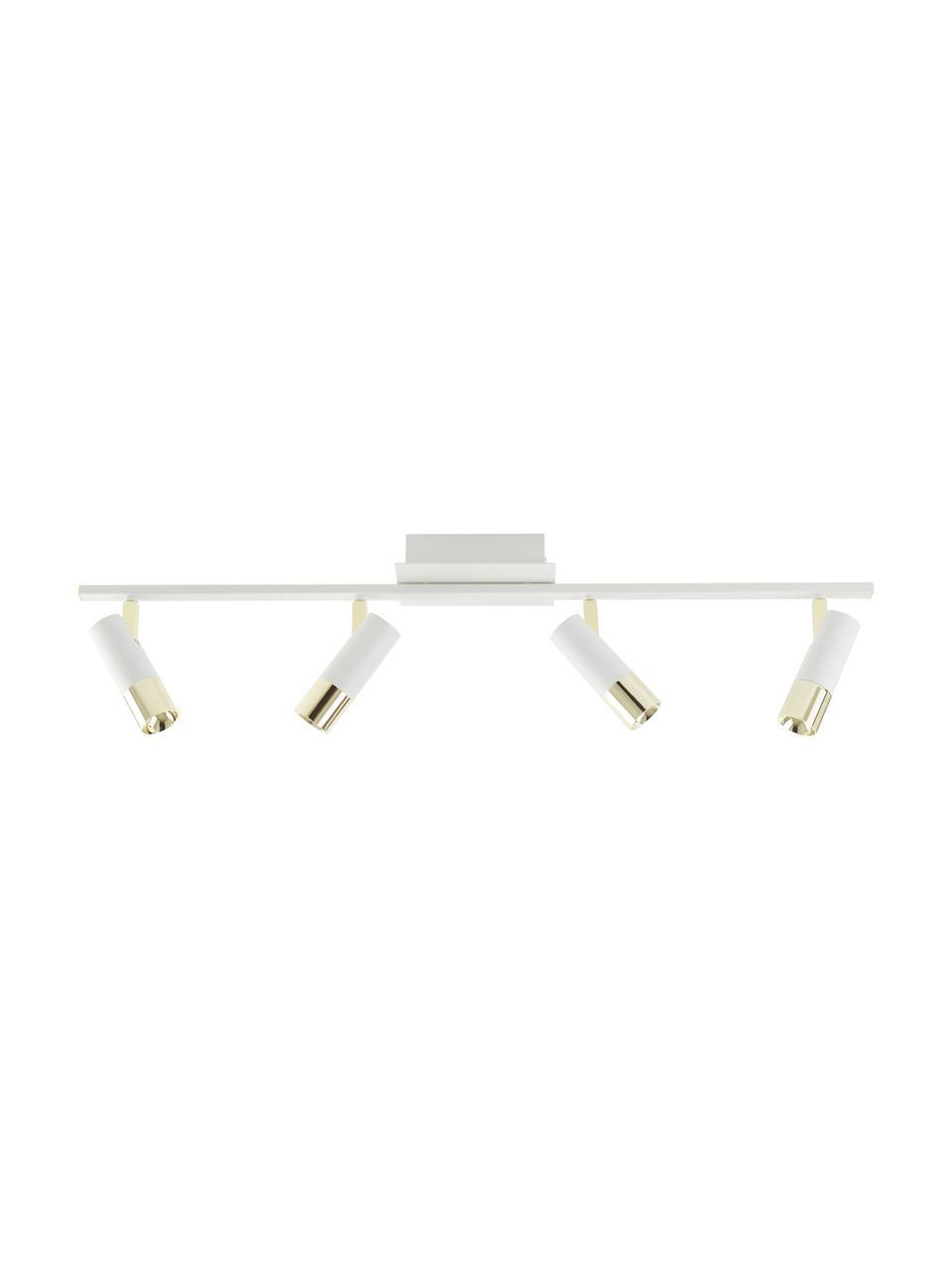 LED-Deckenstrahler Bobby in Weiß-Gold, Baldachin: Metall, pulverbeschichtet, Weiß, 86 x 13 cm
