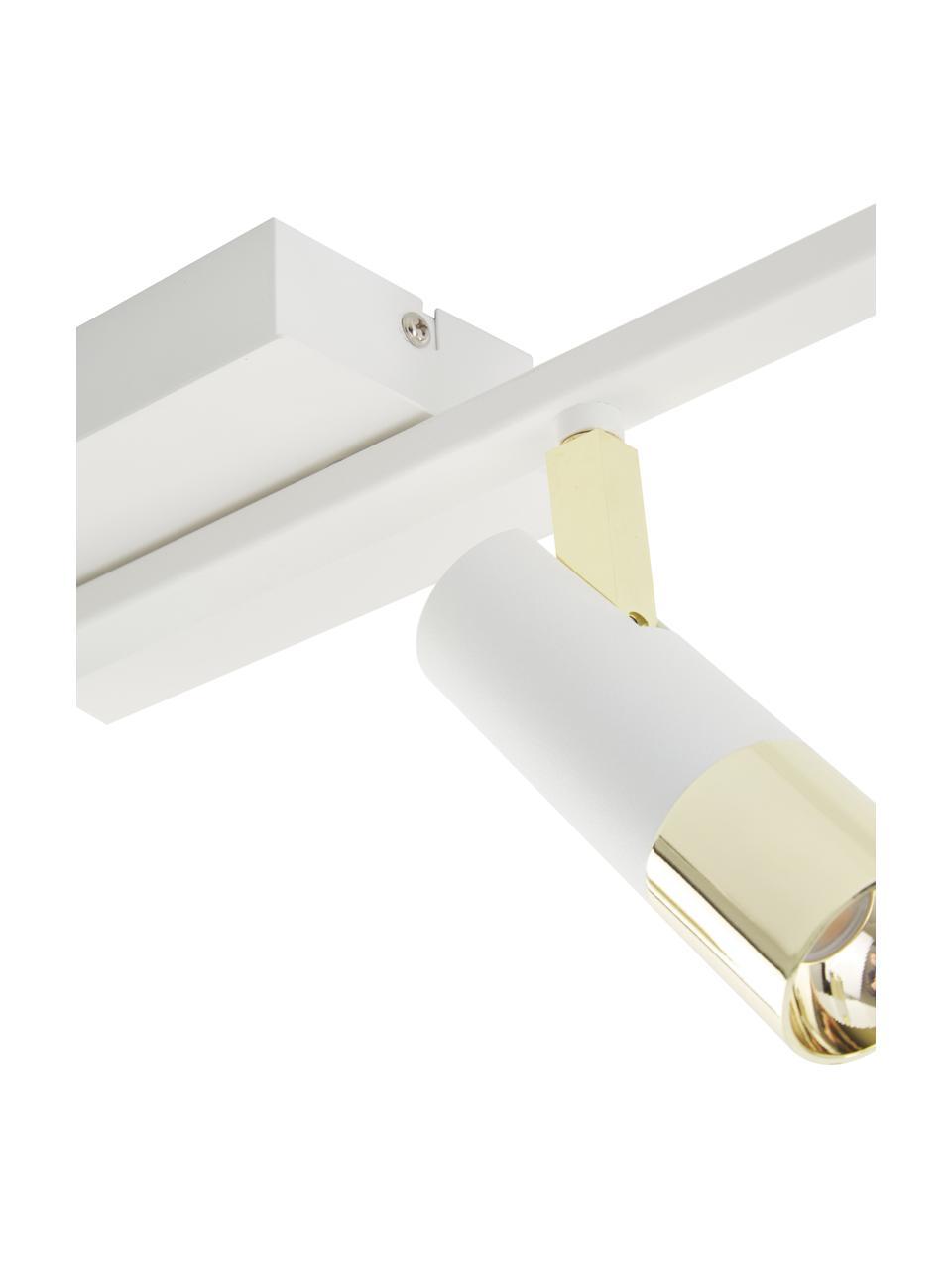 Faretti a LED da soffitto color bianco-oro Bobby, Paralume: metallo verniciato a polv, Baldacchino: metallo verniciato a polv, Struttura: metallo verniciato a polv, Bianco, Larg. 86 x Alt. 13 cm