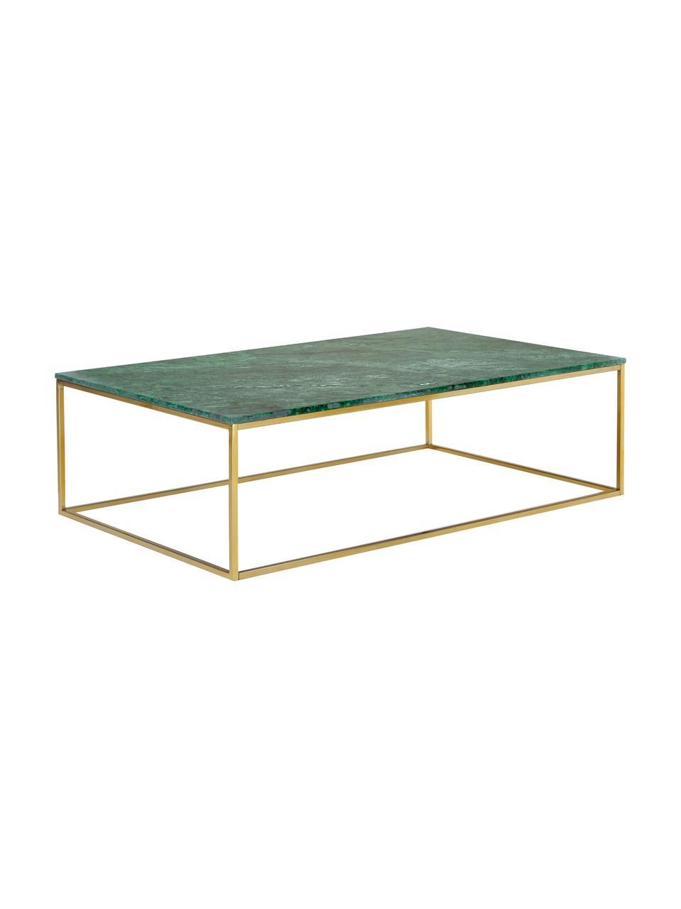 Grote marmeren salontafel Alys, Tafelblad: marmer, Frame: gecoat metaal, Groen marmer, goudkleurig, 120 x 35 cm