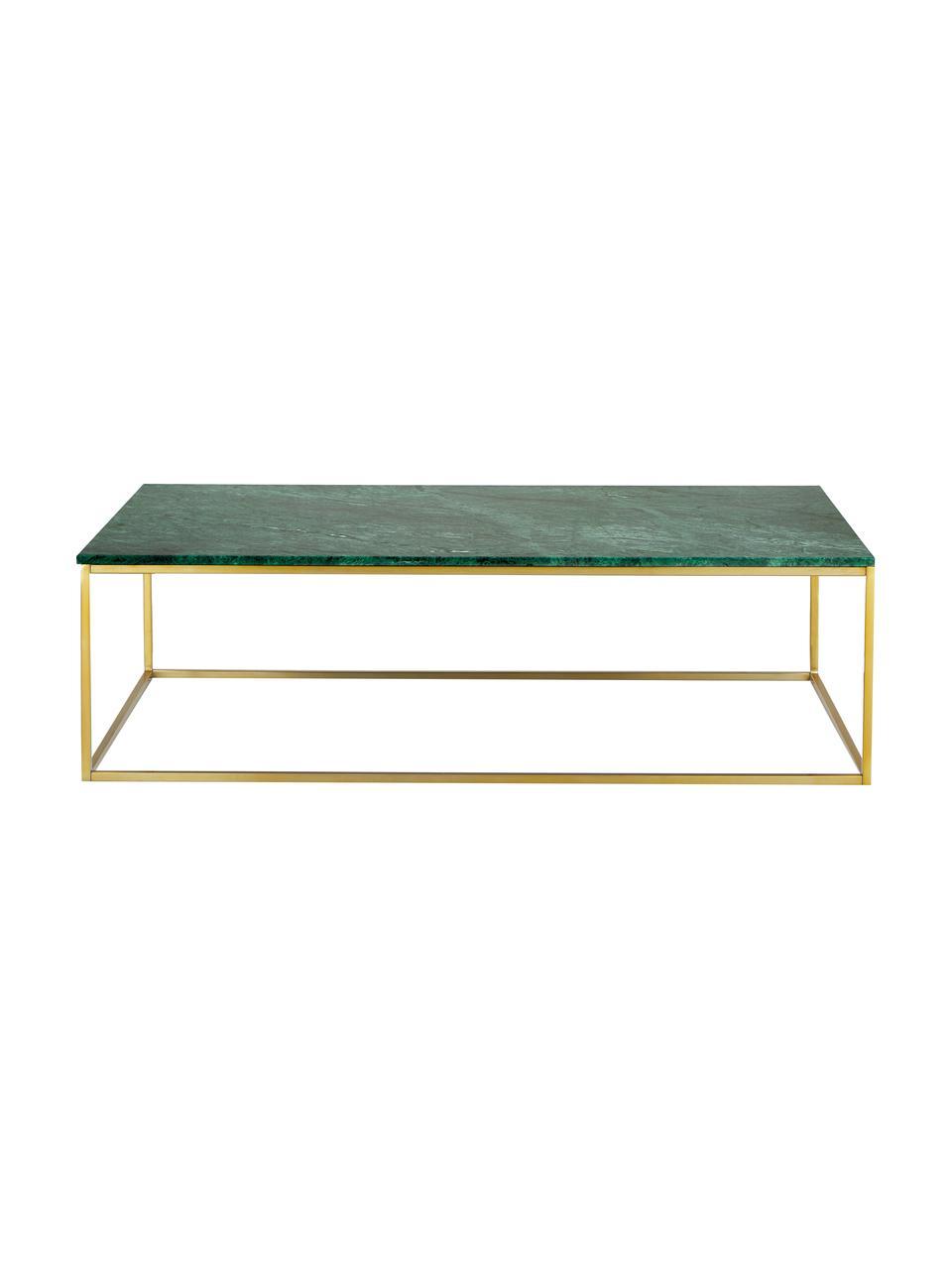 Tavolino da salotto con piano in marmo Alys, Piano d'appoggio: marmo, Struttura: metallo rivestito, Marmo verde, dorato, Larg. 120 x Alt. 35 cm
