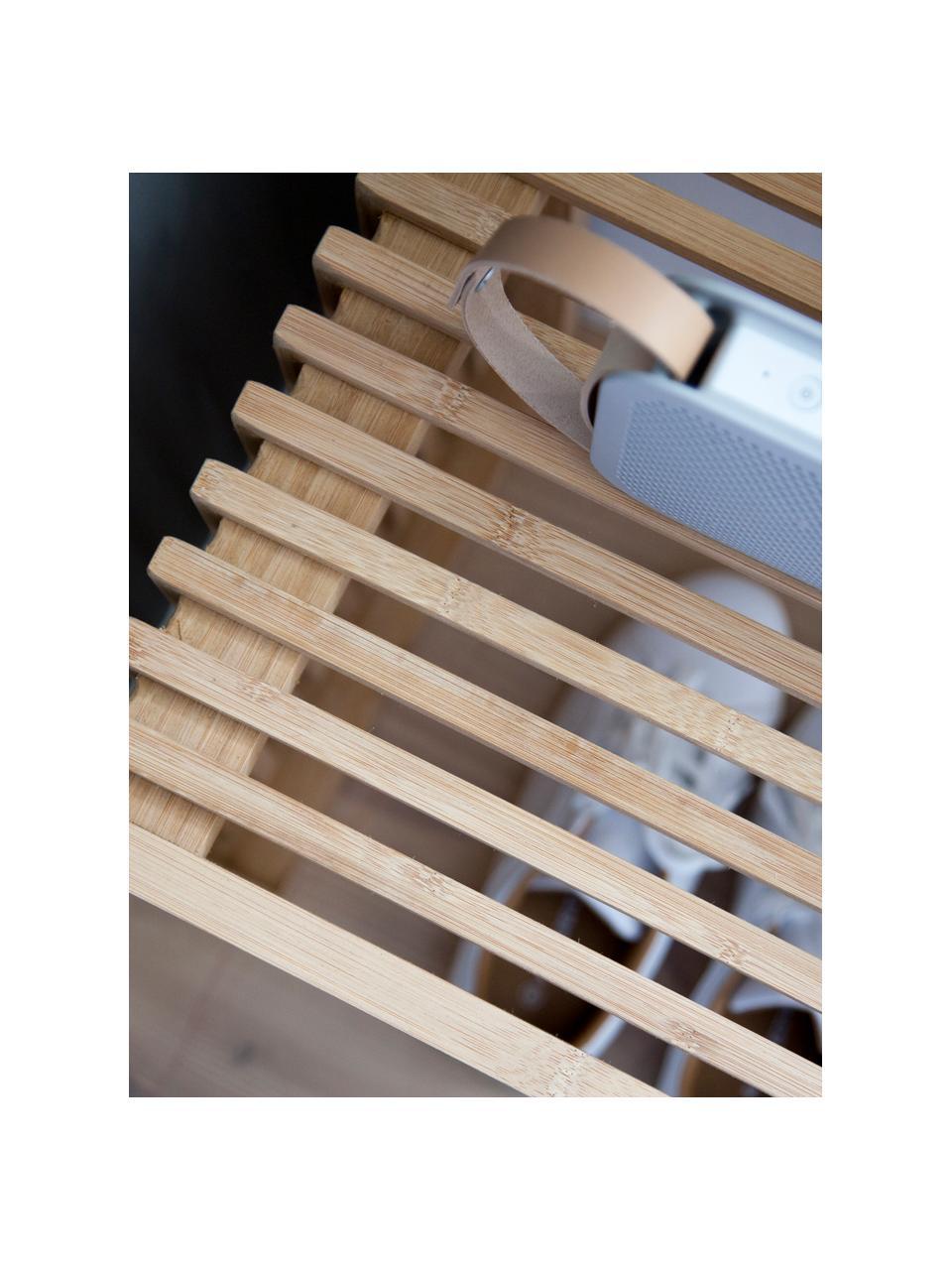 Sgabello moderno in bambù Rib, Legno di bambù sabbiato e oliato, Marrone, Larg. 45 x Alt. 43 cm