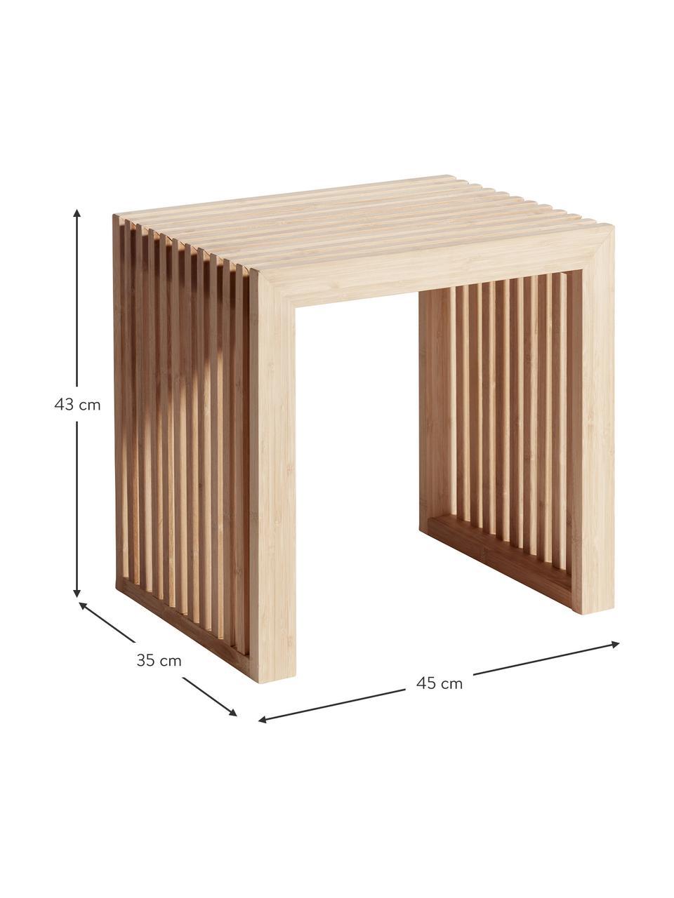 Moderne kruk Rib van bamboehout, Gepolijst en geolied bamboehout, Bruin, 45 x 43 cm