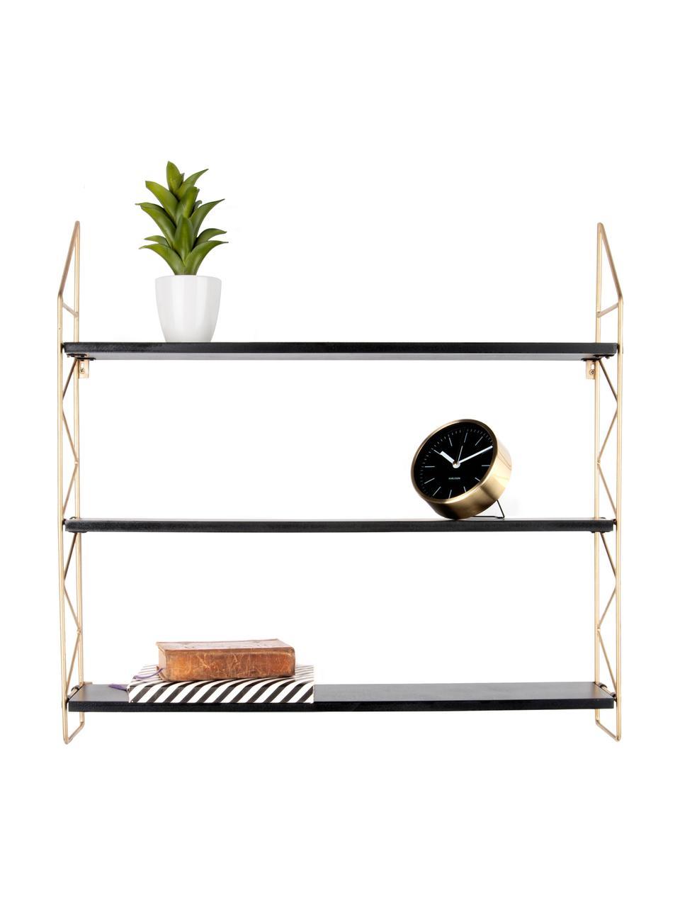 Libreria a muro piccola Zig Zag, Struttura: metallo verniciato, Ripiani: pannelli di fibra a media, Struttura: dorato Ripiani: nero, Larg. 60 x Alt. 60 cm