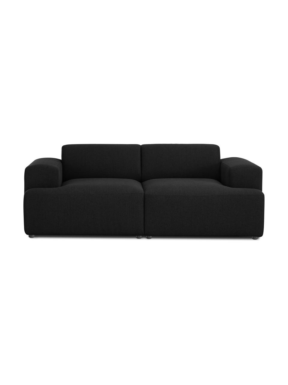 Sofa Melva (2-Sitzer) in Schwarz, Bezug: 100% Polyester Der hochwe, Gestell: Massives Kiefernholz, FSC, Füße: Kunststoff, Webstoff Schwarz, B 198 x T 101 cm