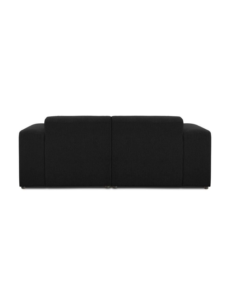 Bank Melva (2-zits) in zwart, Bekleding: 100% polyester De bekledi, Frame: massief grenenhout, FSC-g, Poten: kunststof, Geweven stof zwart, 198 x 101 cm