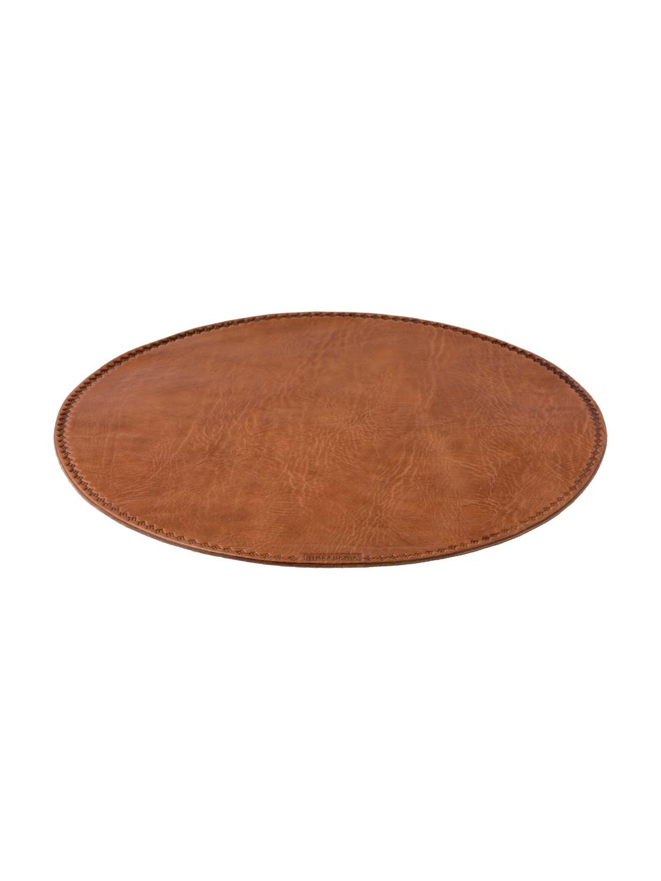 Set de table rond en cuir Lia, Brun