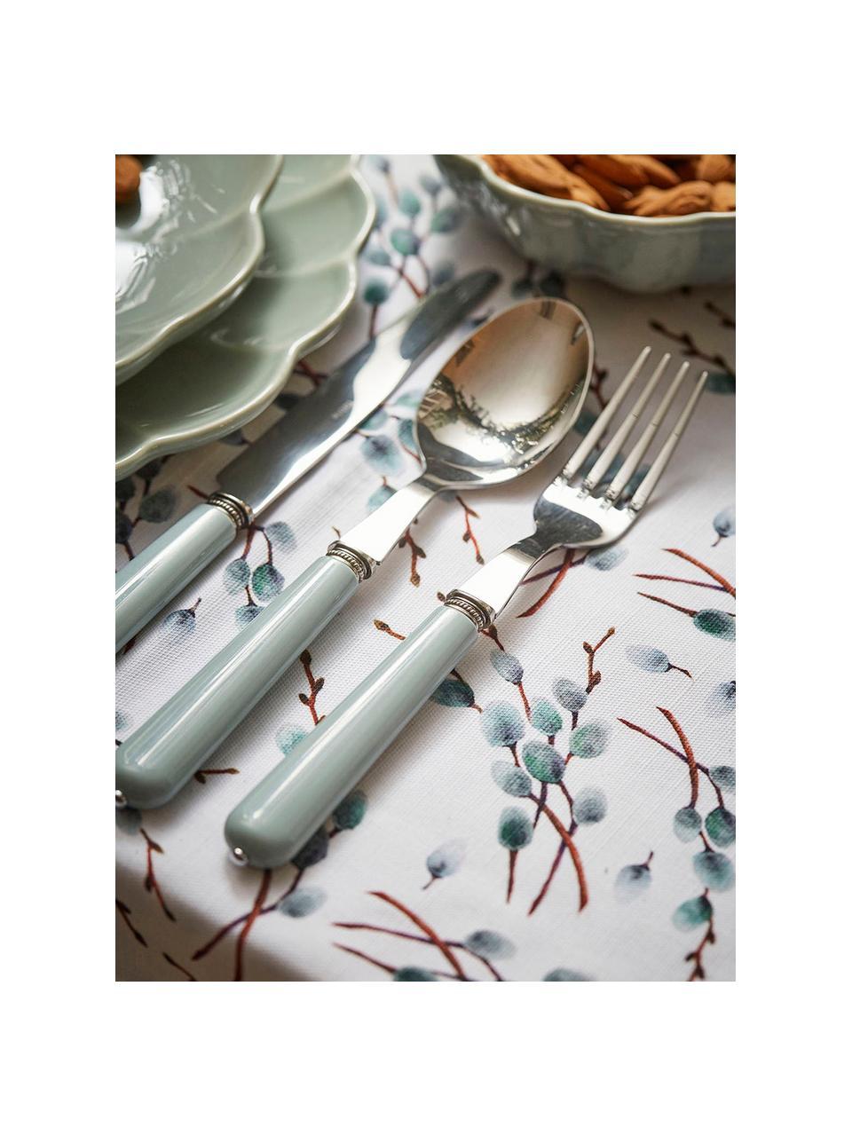 Nappe en coton gris bleu Genevrier, Gris, bleu