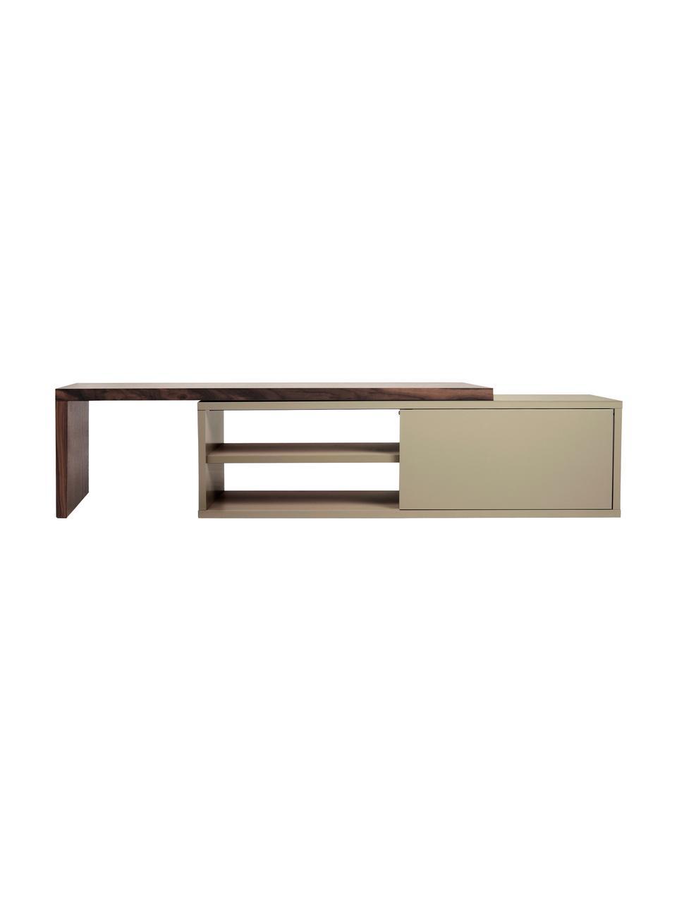 Wysuwana szafka RTV z przesuwanymi drzwiczkami  Lieke, Szary, drewno orzecha włoskiego, S 110 do 203 x W 32 cm