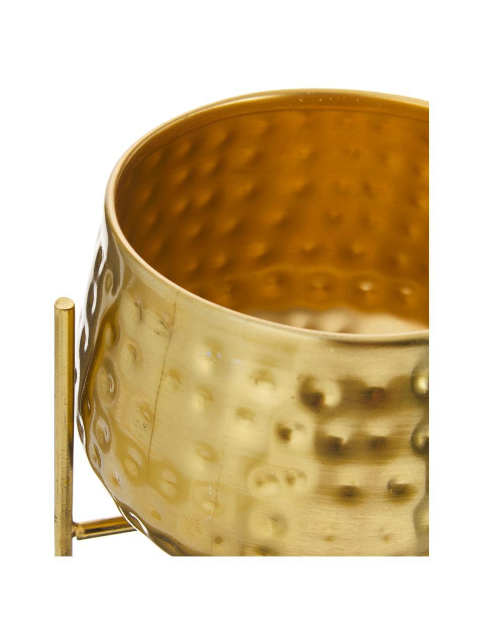 Mała osłonka na doniczkę z metalu Werton, Metal powlekany, Odcienie złotego, Ø 13 x W 23 cm
