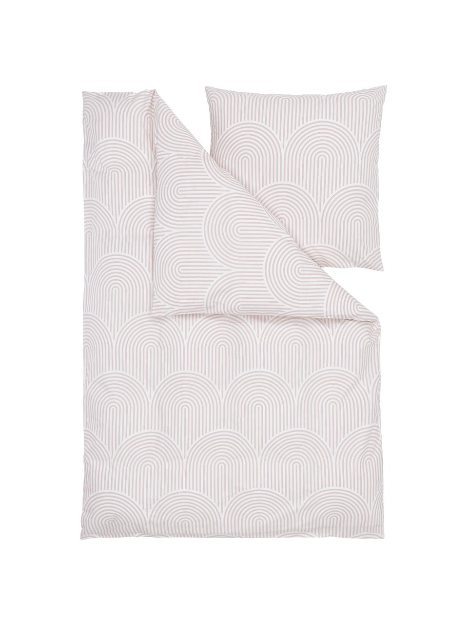 Pościel z bawełny Arcs, Blady różowy, biały, 240 x 220 cm + 2 poduszka 80 x 80 cm