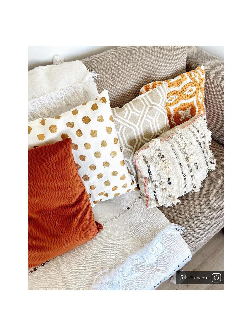 Poszewka na poduszkę Riley, Bawełna, Musztardowy, biały, S 40 x D 40 cm