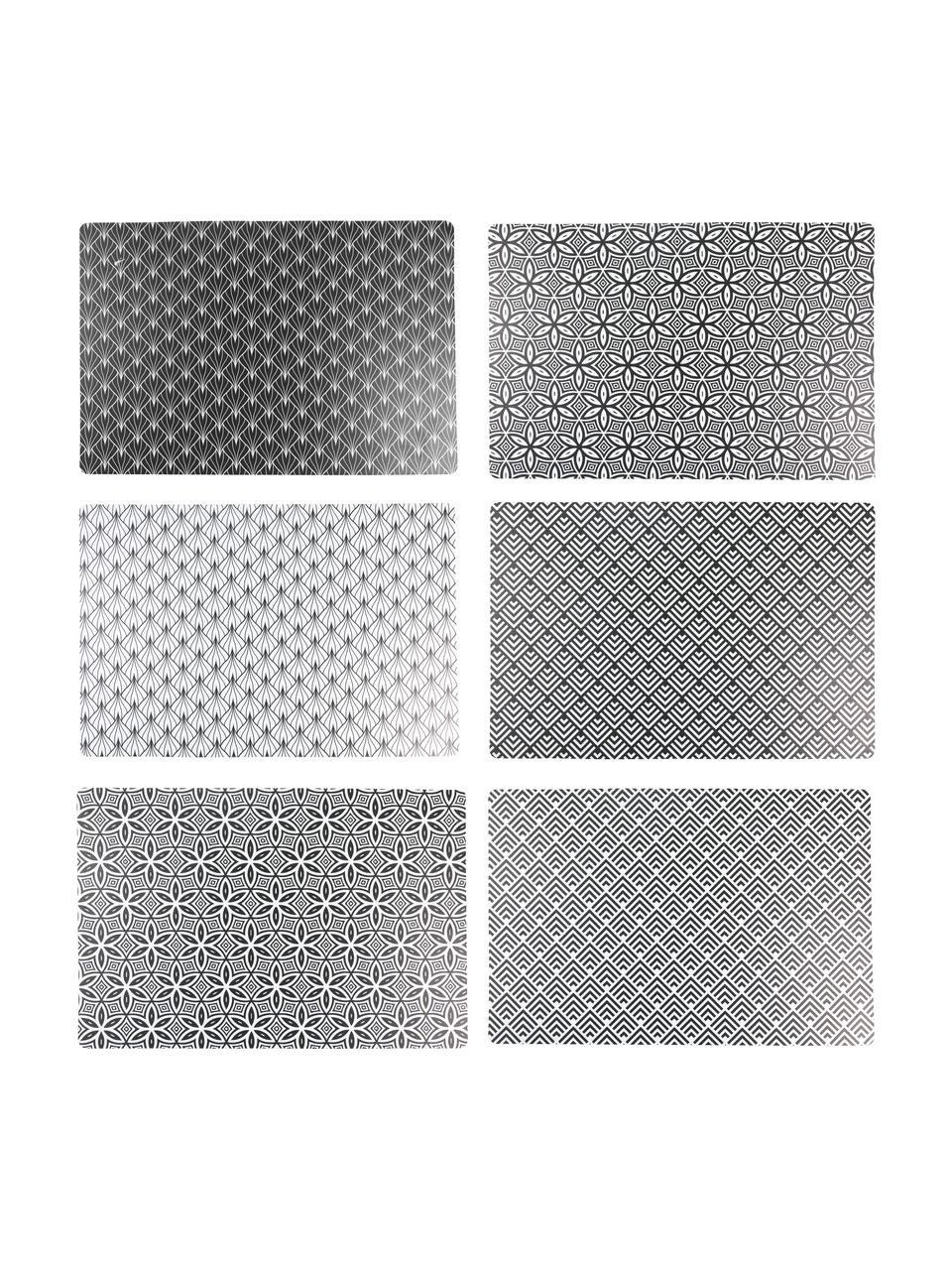 Set de table Deco Life, 6élém., Noir,gris