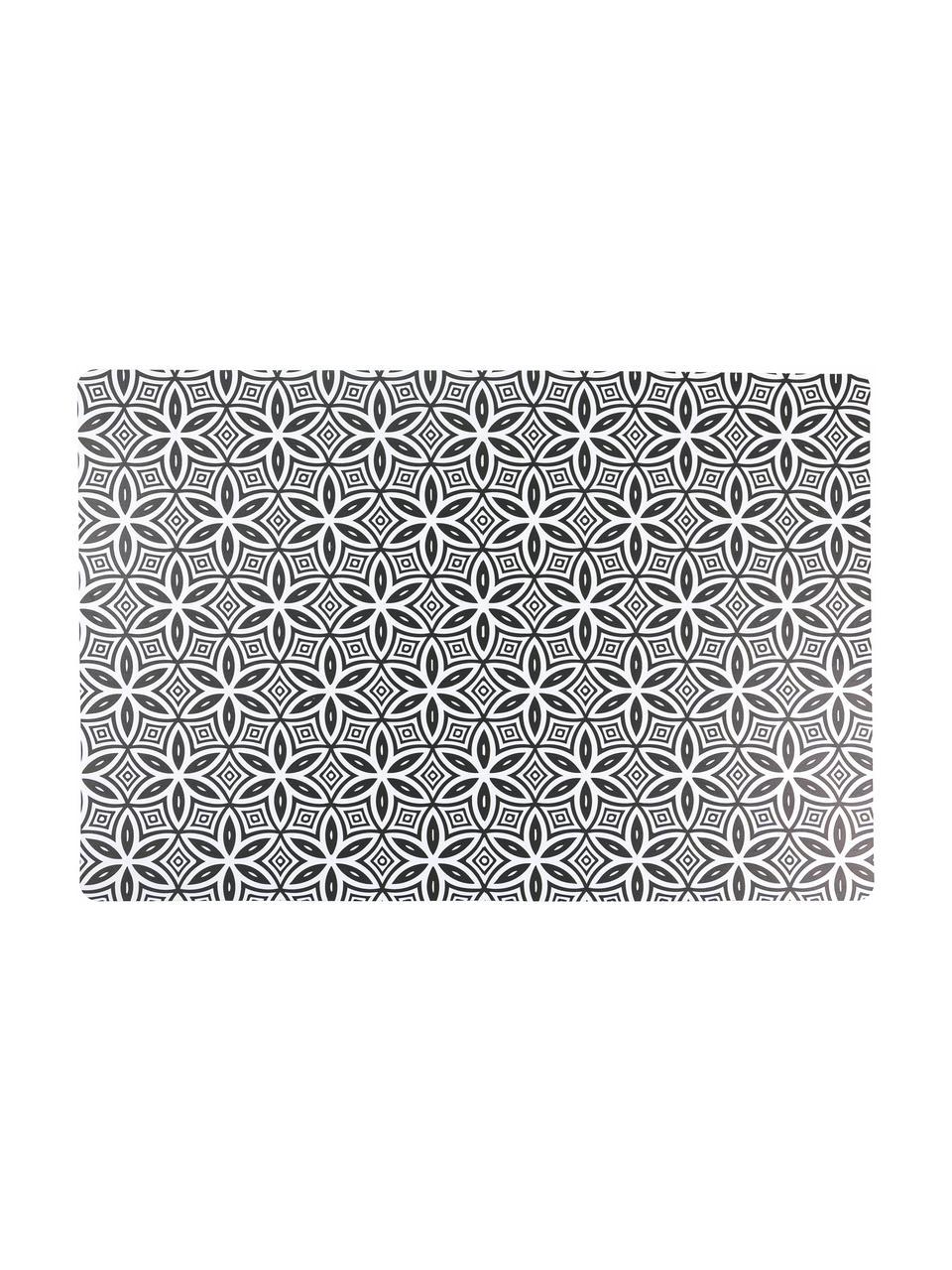 Kunststoff-Tischsets Deco Life, 6er Set, PVC-Kunststoff, Schwarz, Grau, 30 x 45 cm