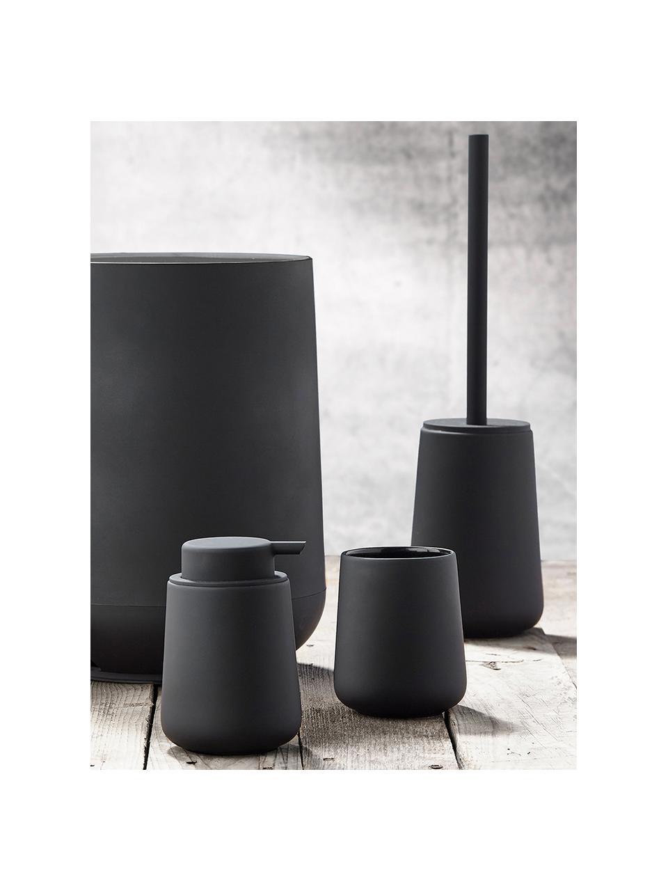 Scopino con contenitore in porcellana Nova One, Contenitore: porcellana, Nero, Ø 10 x Alt. 43 cm