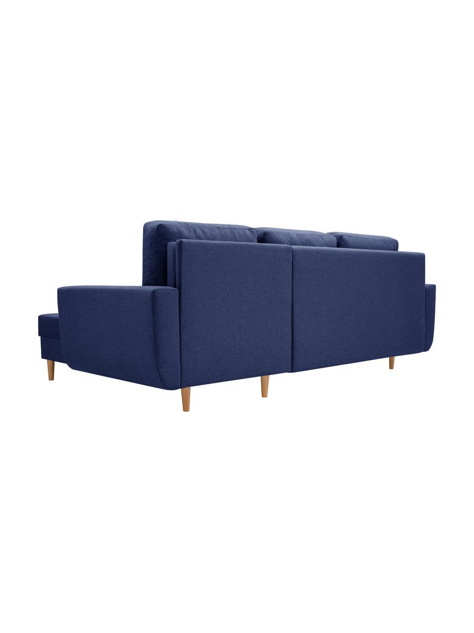 Sofa narożna z funkcją spania i schowkiem Neo (4-osobowa), Tapicerka: 100% poliester, Ciemny niebieski, S 230 x G 140 cm