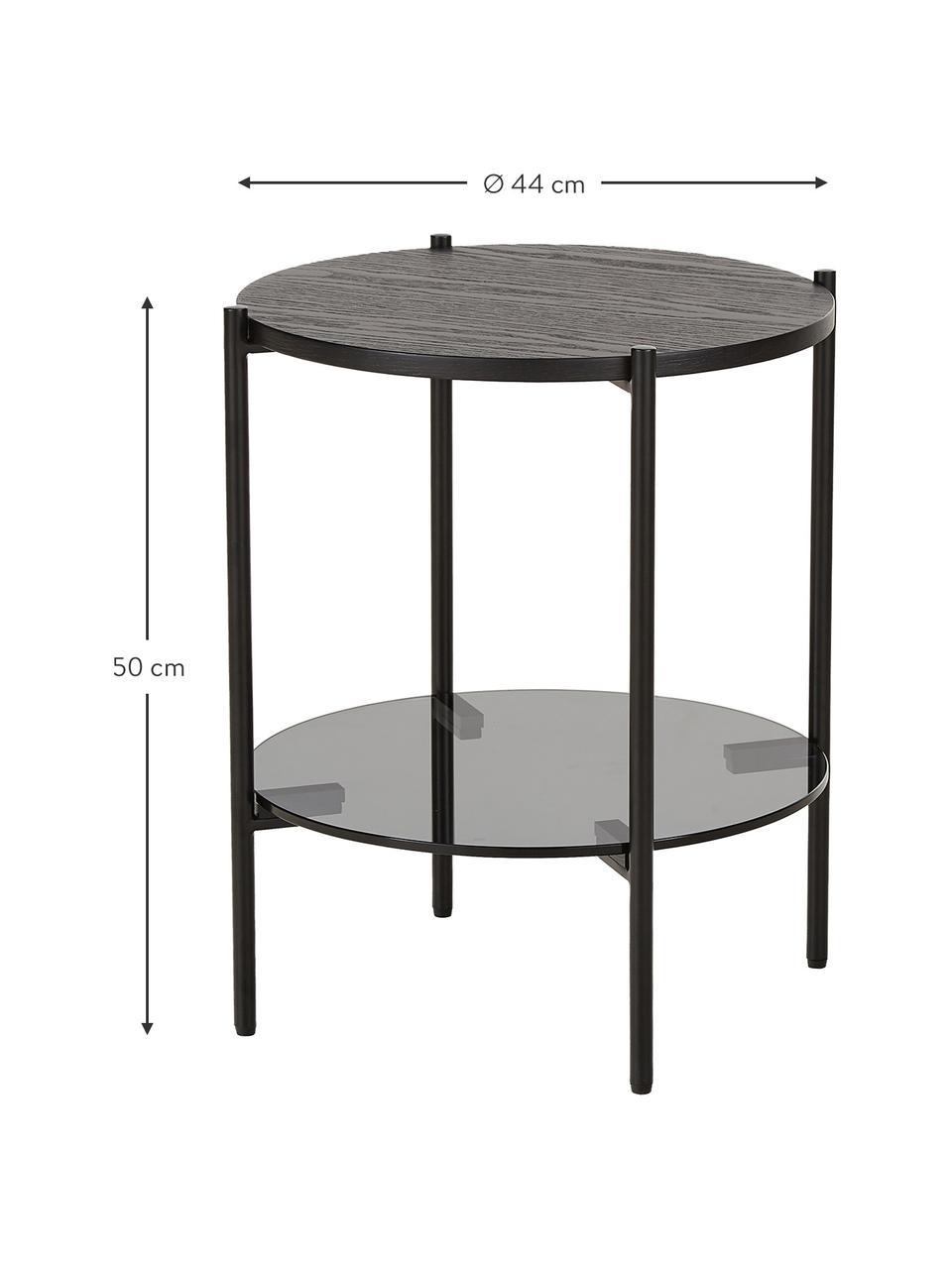 Table d'appoint avec plateau en verre Valentina, Noir