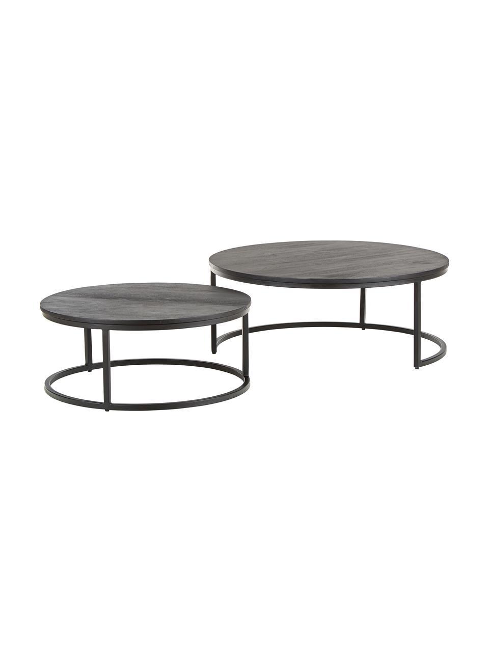 Table gigogne noire en manguier Andrew, 2élém., Plateau: bois de manguier, noir laqué Support: noir, mat