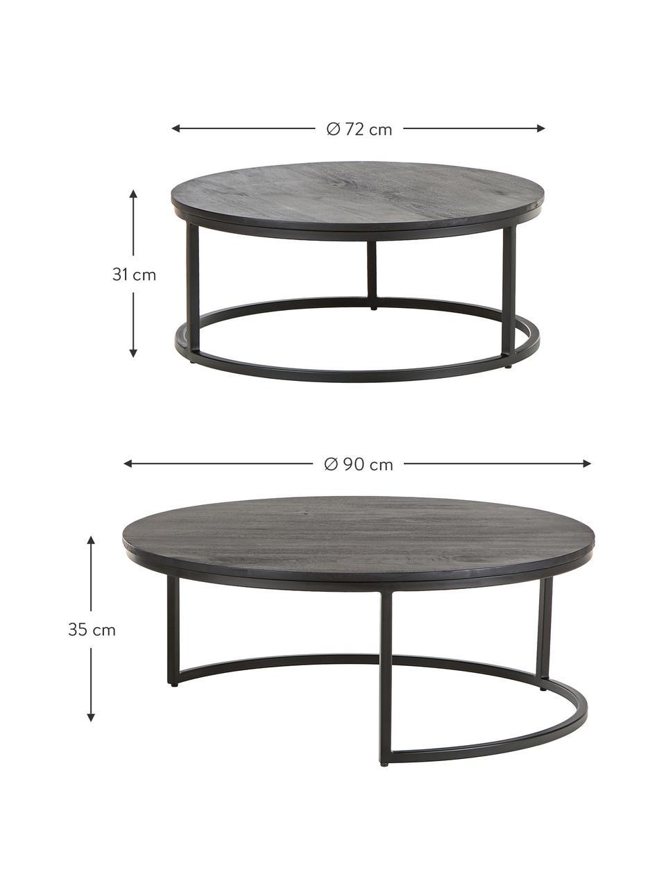 Súprava konferenčných stolíkov z mangového dreva Andrew, 2 diely, Čierna